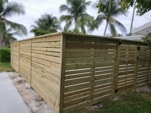 horizontal wood fencing